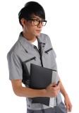 重庆短袖工作服涤棉斜纹浅灰铁灰差色系列