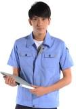 重庆涤棉斜纹天蓝短袖工作服
