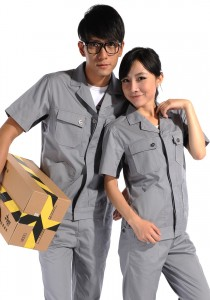 重庆涤棉斜纹浅灰短袖工作服