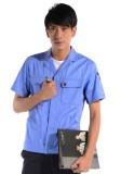 重庆欧迈涤棉斜纹天蓝短袖工作服