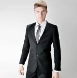 重庆欧迈 修身 韩版 结婚  西装  正装 黑商务 男士重庆西服套装