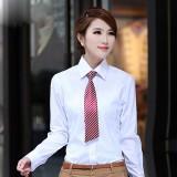 工装女士长袖秋装新款OL通勤V领白 修身工作服女士寸衫白领寸衫
