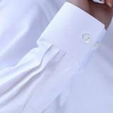 工装女士长袖秋装新款OL通勤V领白 修身工作服女衬衣大