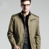欧迈商务夹克男装春秋装商务夹克 男休闲加厚外套 中长款修身男士夹克衫
