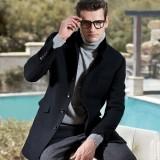 欧迈男装大衣男装 男士冬装羊绒羊毛呢大衣 冬季水貂毛领外套 中长款