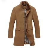 欧迈男装中长款羊毛呢大衣男呢子风衣修身羊毛羊绒男大衣毛呢外套
