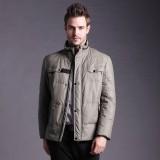欧迈中年男士装秋冬季新款立领商务休闲羽绒服男短款防寒外套