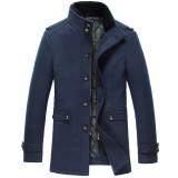 欧迈新款冬装加厚羊毛呢外套男中长款男士呢大衣男装呢子修身
