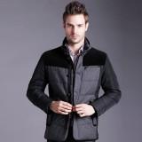 欧迈中老年男士装冬季新款商务休闲时尚羽绒服男韩版拼色外套