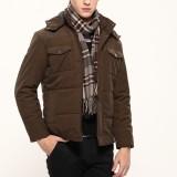 欧迈冬装棉衣 新款男士加厚多口袋休闲商务夹克防寒棉服外套