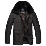 欧迈冬装加厚外套 中年男翻领内胆可脱卸防寒服爸爸装 中老年男装棉衣
