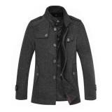 欧迈秋冬新款男装呢大衣男中长款翻领羊毛大衣修身毛呢外套