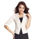 女士中袖小西装修身女韩版女装秋装大码泡泡袖OL一粒扣女西装外套
