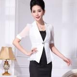 白色小重庆西服雪纺拼接夏季小西装外套女西装夏薄款修身韩版