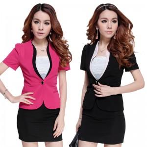 双色立领女装套装女士正装重庆西服套装时尚西装套裙工作服