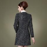 冬装新款韩版女装 秋冬双排扣修身毛呢大衣呢子外套