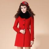 冬装新款韩版OL修身女装秋冬装毛领毛呢外套呢子大衣