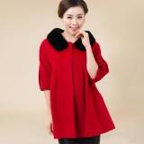新款女冬装羊驼绒大衣 中年獭兔毛斗篷女大衣 七分袖气质大码女装