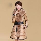 冬季新款獭兔奢华大毛领修身气质腰带羽绒服女中长款