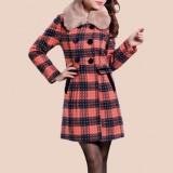冬季新品 女毛领加大码格子毛呢大衣 女装大衣特价中长款呢子