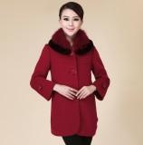 品牌羊绒大衣正品专柜高档通勤精品超长狐狸毛领羊毛大衣 女外套