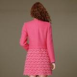 冬装新款韩版女装 秋冬蕾丝羊毛呢大衣呢子外套修身
