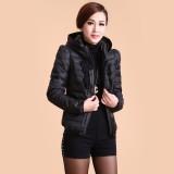羽绒服女短款韩版新款修身显瘦女装连帽领时尚纯色休闲外套