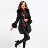 冬装新款 韩版羽绒服外套 毛领中长款大衣 防寒服女装 正品