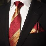 奢华经典 红色真丝领带三件套 男正装商务结婚婚庆套装