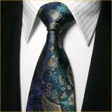 经典款式 真丝领带男 宝石蓝花纹正装商务结婚领带套装