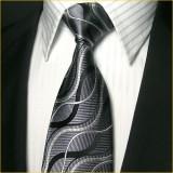 独特设计 真丝领带三件套男 黑色经典款正装商务领带
