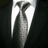 奢华经典款 银色方格商务真丝领带 男正装商务结婚领带