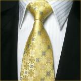 奢华典雅 真丝领带三件套 金黄色花纹结婚庆典领带套装