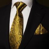 奢华经典 真丝领带三件套男 金色花纹正装商务结婚领带