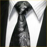 奢华经典 色织真丝领带男 黑色花纹正装商务领带套装