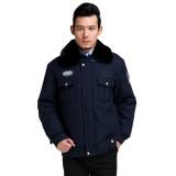 男士夹克款棉大衣 冬装大衣加厚款 保安工作服冬装 安检保安棉衣