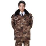 冬款迷彩服大衣男款加厚外套工程服保暖中长款棉衣保安工作服