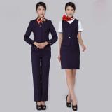 东方航空秋冬装 东航空姐服 工作服制服 时尚职业女装 深紫色套装
