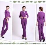 美容师工作服秋冬装 美容院工作服裤装 美容服装中袖套装紫色
