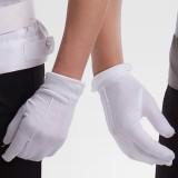 工作白色手套保安服男女带扣手套配饰司机舞台白礼仪棉手套