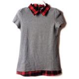 重庆校服衬衣领短袖 女 夏装t恤 学院风格子假两件套 修身 英伦