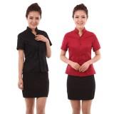酒店工装制服夏 男女 餐厅服务员服装 快餐店服务员工服短袖