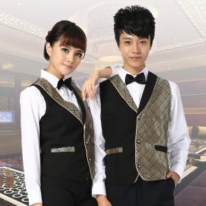 KTV服务员马甲男女 酒店工作服马夹西餐厅服务员马甲制服