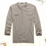 初秋外单 薄款纯棉针织 男士工装风亨利领休闲长袖重庆T恤打底衫