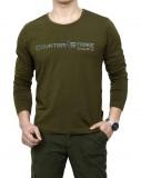 免烫秋装男士军绿色t恤 男军装t恤 军旅工装休闲圆领长袖重庆T恤