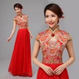 新款新娘结婚敬酒礼服旗袍 两件套龙凤刺绣褂 高档长款红装