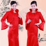 新娘结婚礼服冬季棉旗袍长款长袖复古中式旗袍迎宾服旗袍