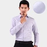 新品男士加绒保暖 商务撞色加厚加绒衬衣 白底紫条纹