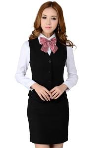 酒店工作服前台餐厅餐饮茶楼饭店服务员夏装短袖马甲女