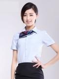 爆款衬衣女白夏装女短袖条纹工作服工装OL通勤正装大码